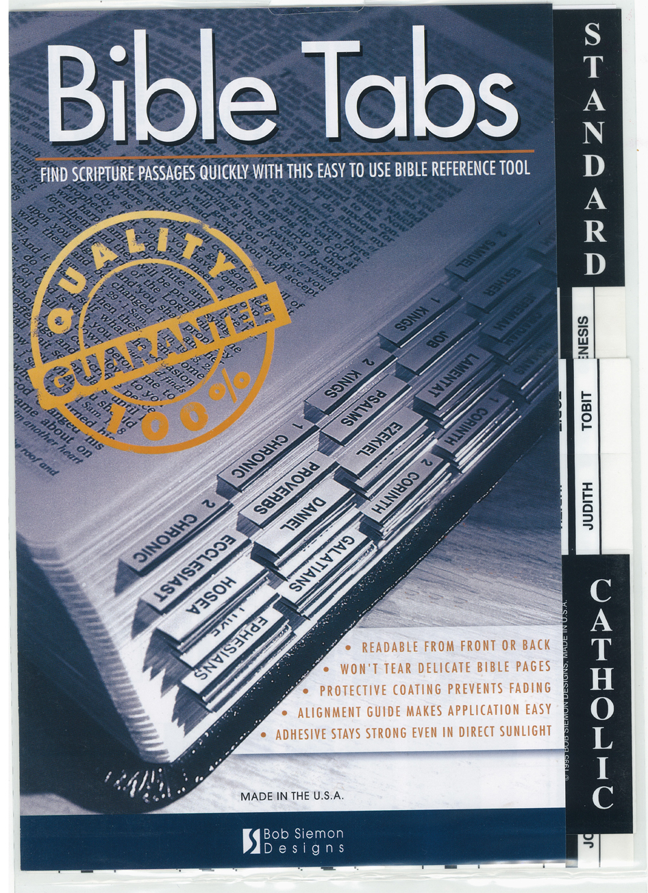 Bible Indexing Tabs Catholic Black Edged 510-374-0176