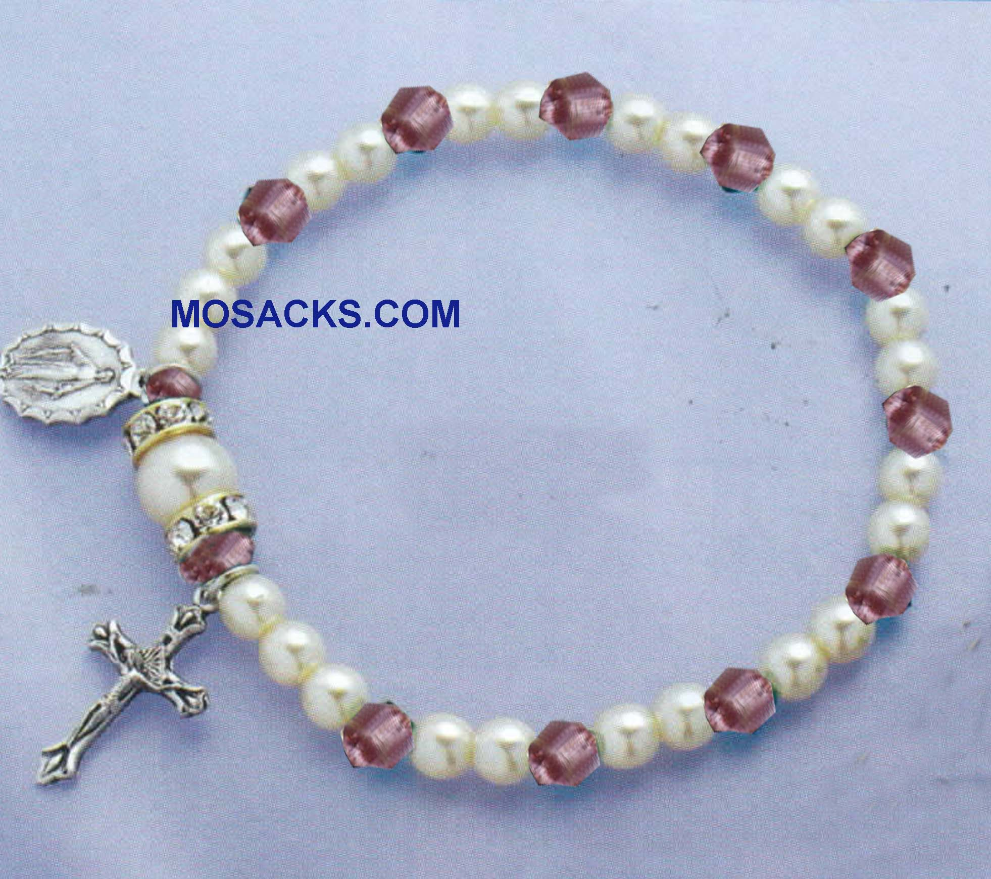 Birthstone Rosary Stretch Bracelet Light Amethyst -45280LA