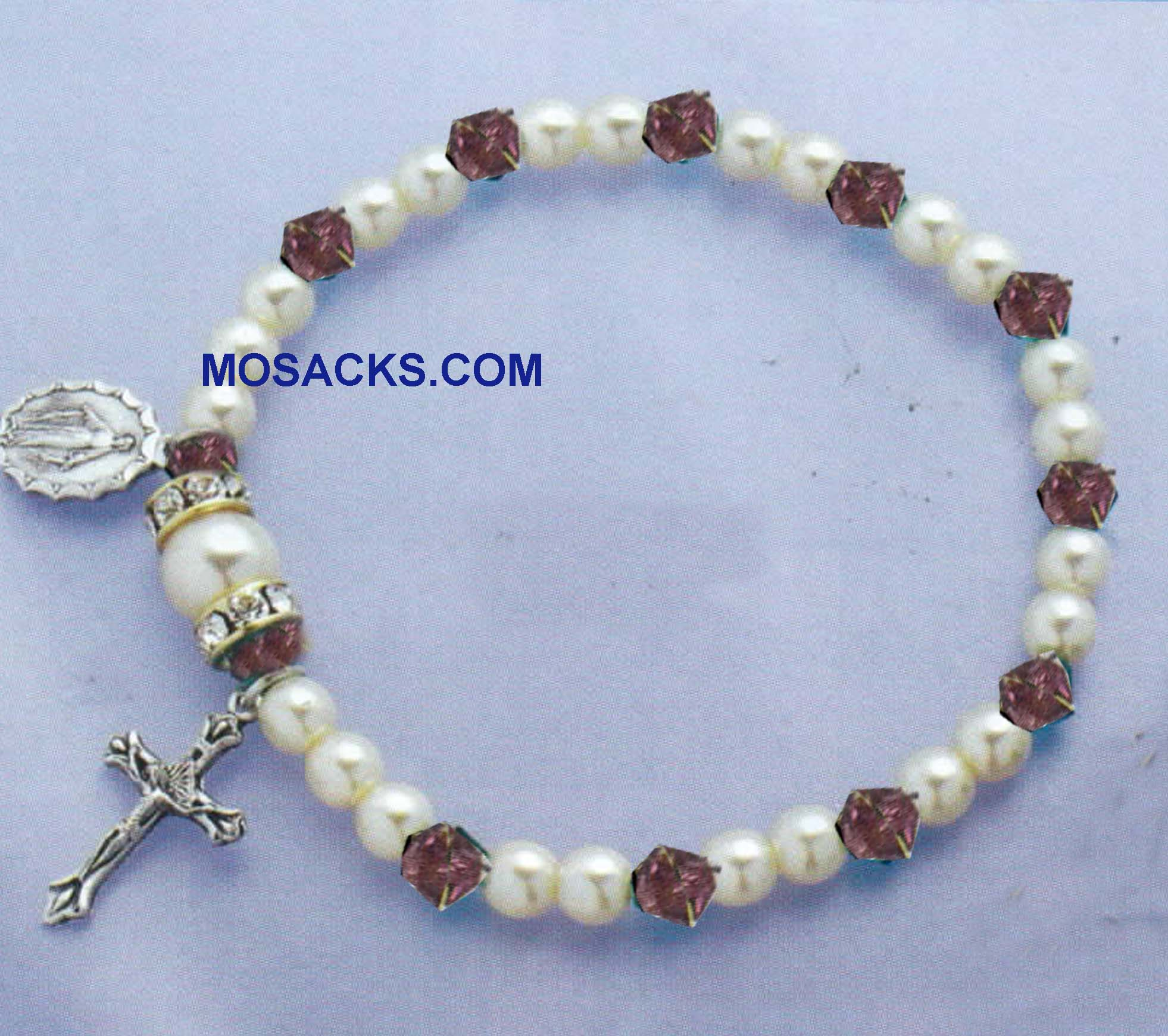Birthstone Rosary Stretch Bracelet Amethyst-45280AM
