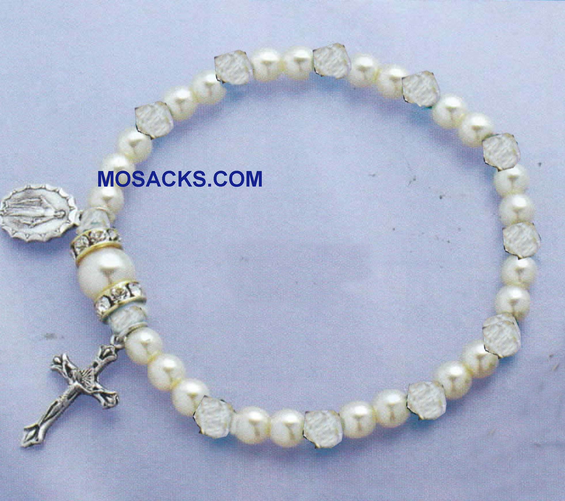 Birthstone Rosary Stretch Bracelet Crystal-45280CR