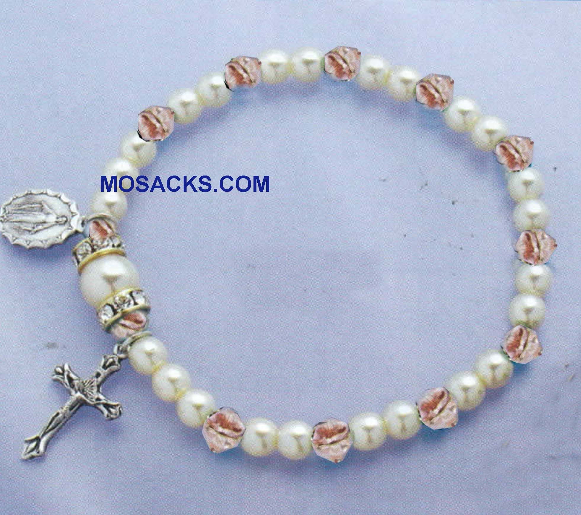 Birthstone Rosary Stretch Bracelet Rose-45280RZ