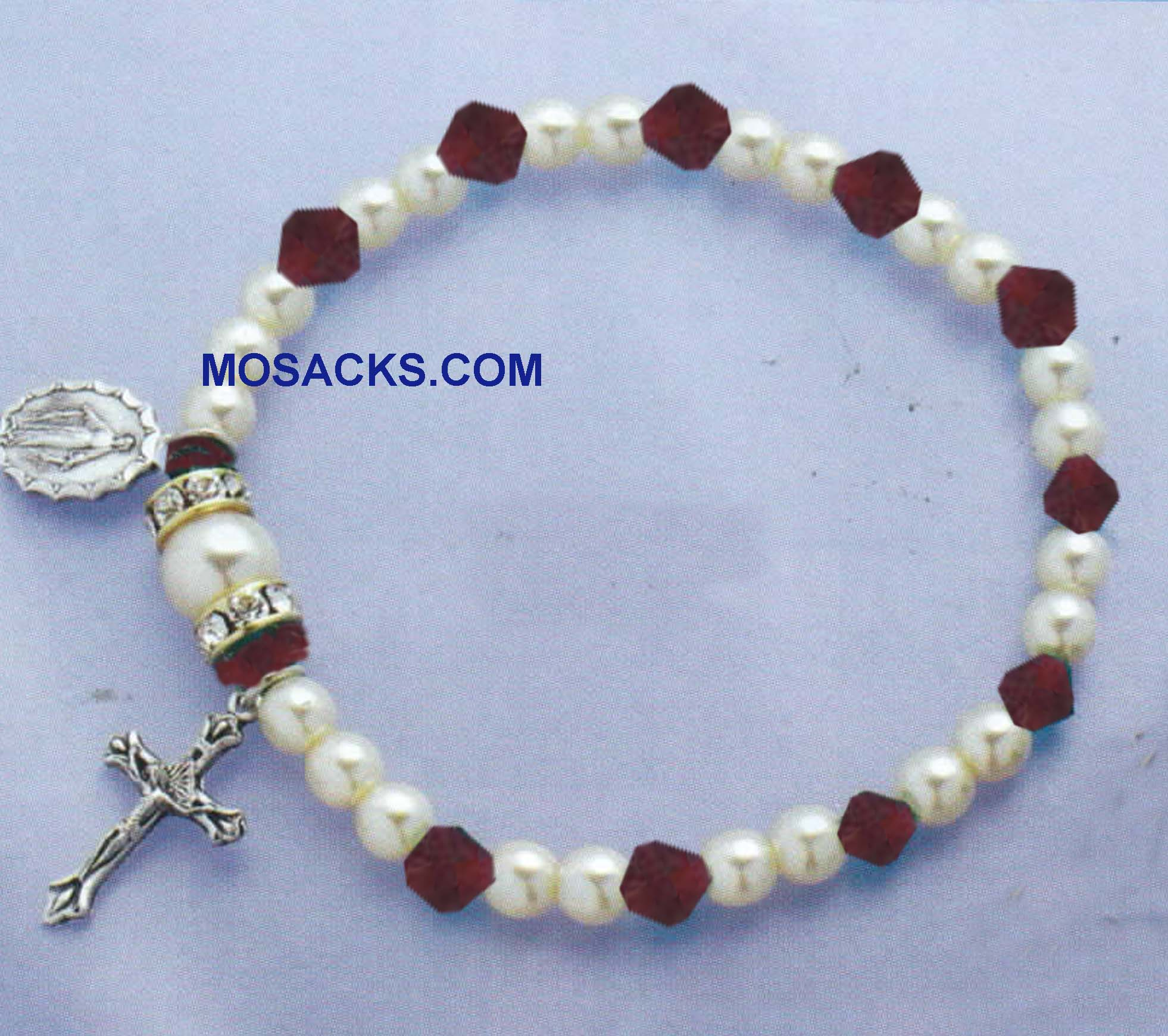 Birthstone Rosary Stretch Bracelet Ruby-45280RB