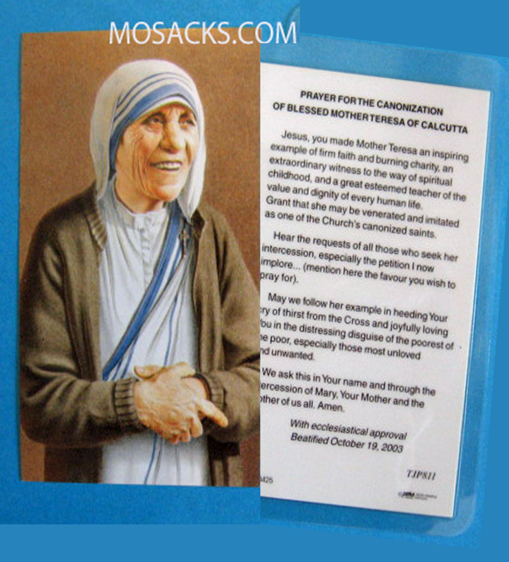 Blessed Mother Teresa Canonization Laminated Prayer Card, #TJP811L