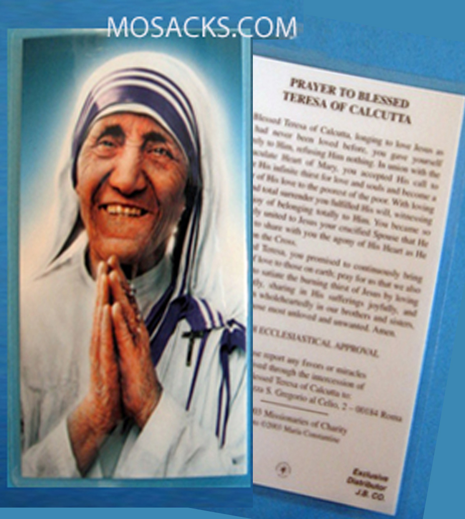 "Blessed Teresa of Calcutta 2 1/2"" x 4 1/4"" Prayer Card, #MT-4"