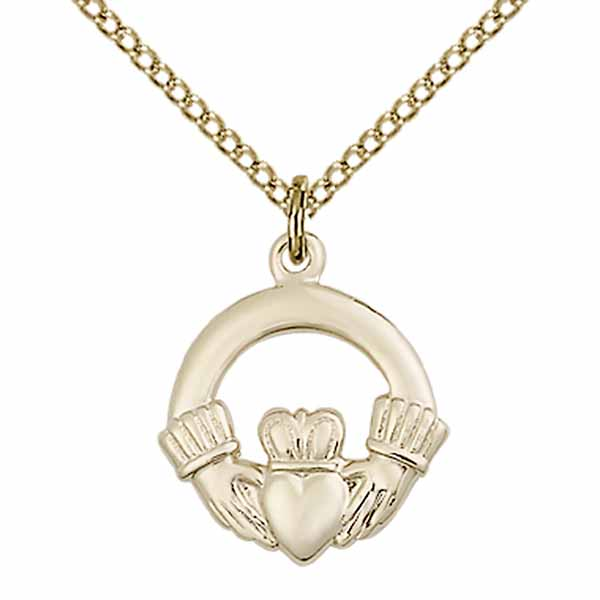 "Claddagh Medal 12 KT Gold Filled, 1-1/4"", 4138GF/18GF"