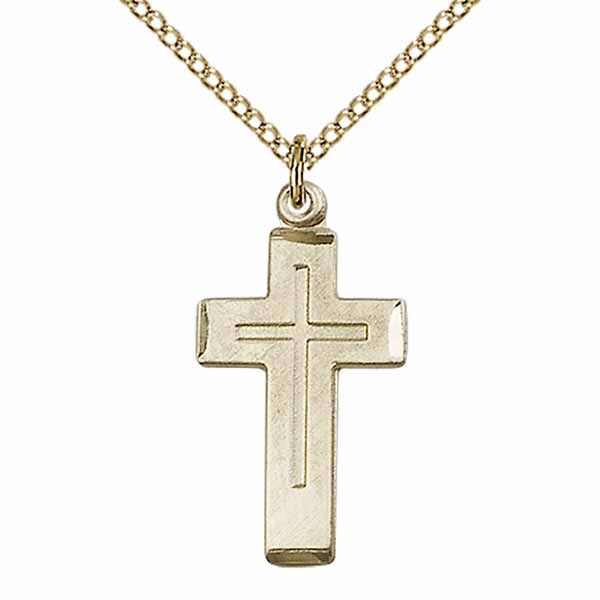 "14 KT Gold Filled Cross in a Cross necklace, 3/4"", 1529GF/18GF"