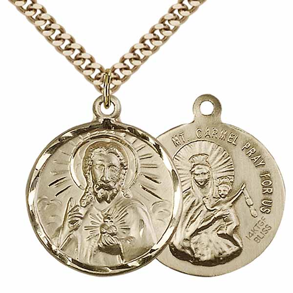 "12 KT Gold Filled Scapular Medal Necklace, 1"", 0017SGF/24G"