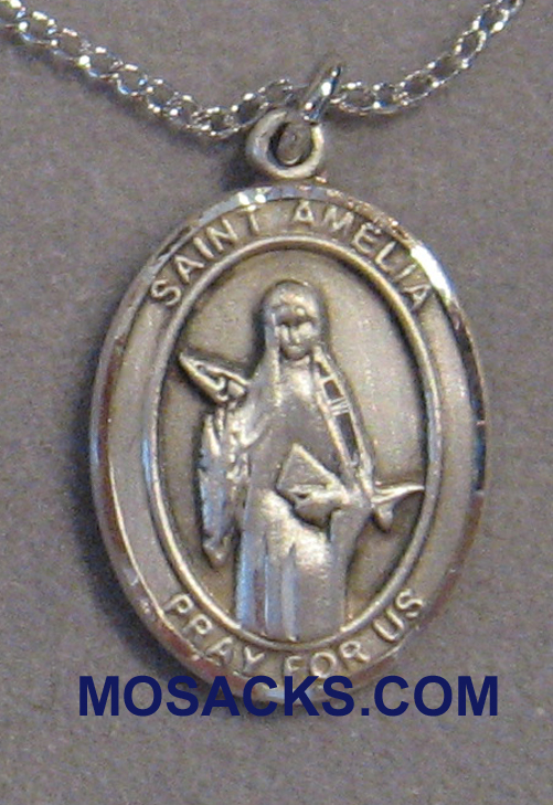 Sterling Silver St. Amelia Patron Saint medal 8313SS/18SS