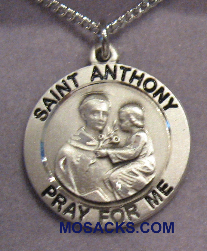 Sterling Silver St. Anthony of Padua Patron Saint medal 4052SS/18S