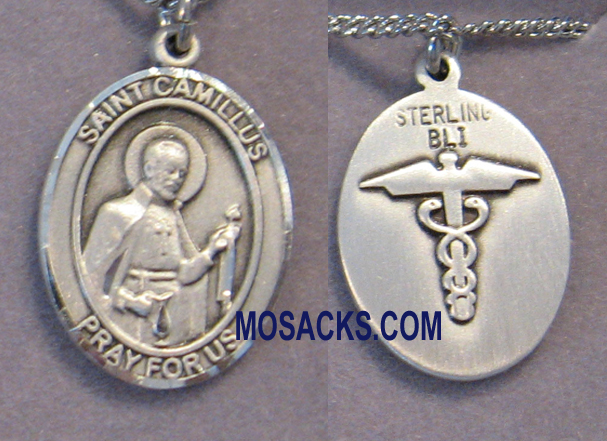 Sterling Silver St. Camillus of Lellis Patron Saint medal 8019SS9/18S