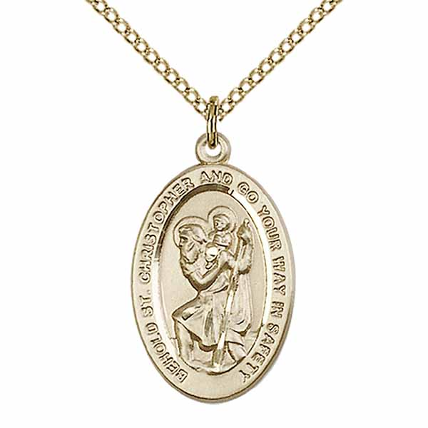 "12 KT Gold Filled St. Christopher Medal Necklace, 1"", 4123CGF/18GF"