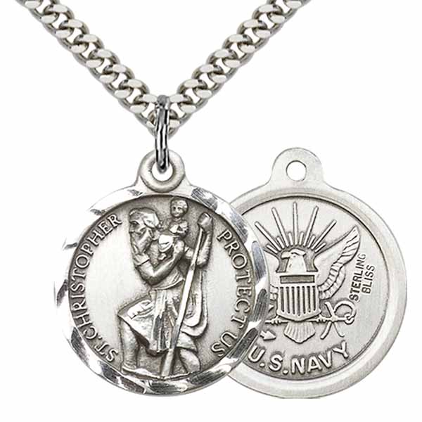"St. Christopher/Navy Sterling Silver Medal 1"" 0192SS6/24S"