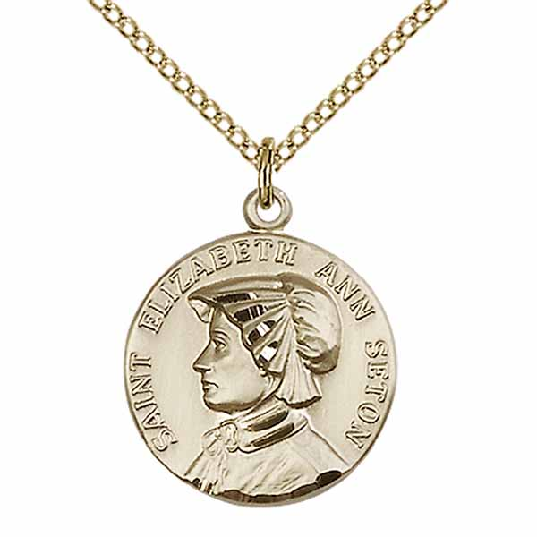 "12 KT Gold Filled St. Elizabeth Ann Seton Medal Necklace, 3/4"", 1464GF/18GF"