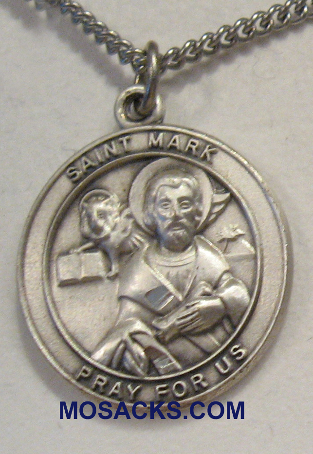 "St. Mark Sterling Silver Medal 1-1/4"" 49728SS/18SS"