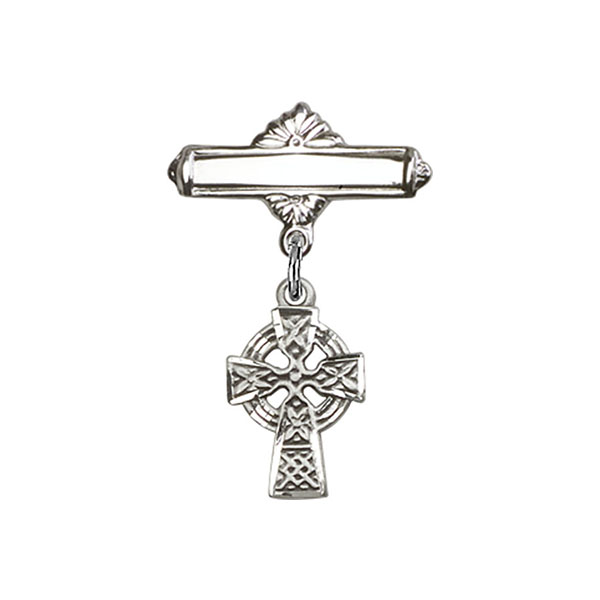 "Sterling Silver Celtic Cross Badge Pin 1"" 4133SS/0730SS"