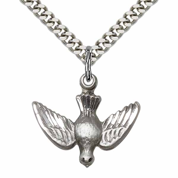 "Holy Spirit Sterling Silver Holy Spirit Medal Necklace 5/8"" 1628SS/18S"