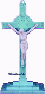 Blue and White 6 Inch Sunburst Plastic Crucifix with Base 185-763BW-B