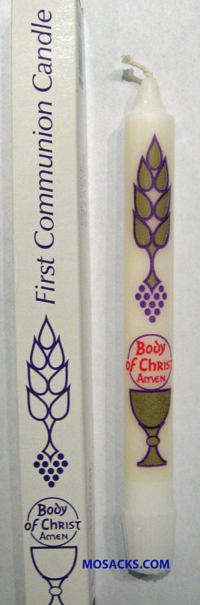 "First Communion Body of Christ Sacramental Candle 7/8 x 8"" 84200701"