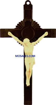 Brown and Tan 6 Inch Sunburst Plastic Crucifix 185-763