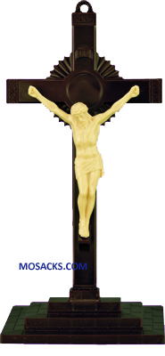 Brown and Tan 6 Inch Sunburst Plastic Crucifix with Base 185-763B