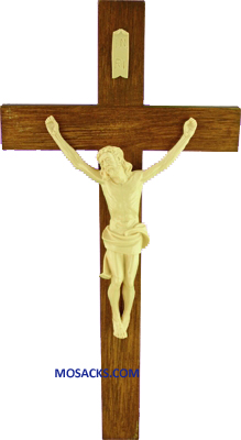 Brown and Tan Wood Grained 8 Inch Plastic Crucifix 185-1916
