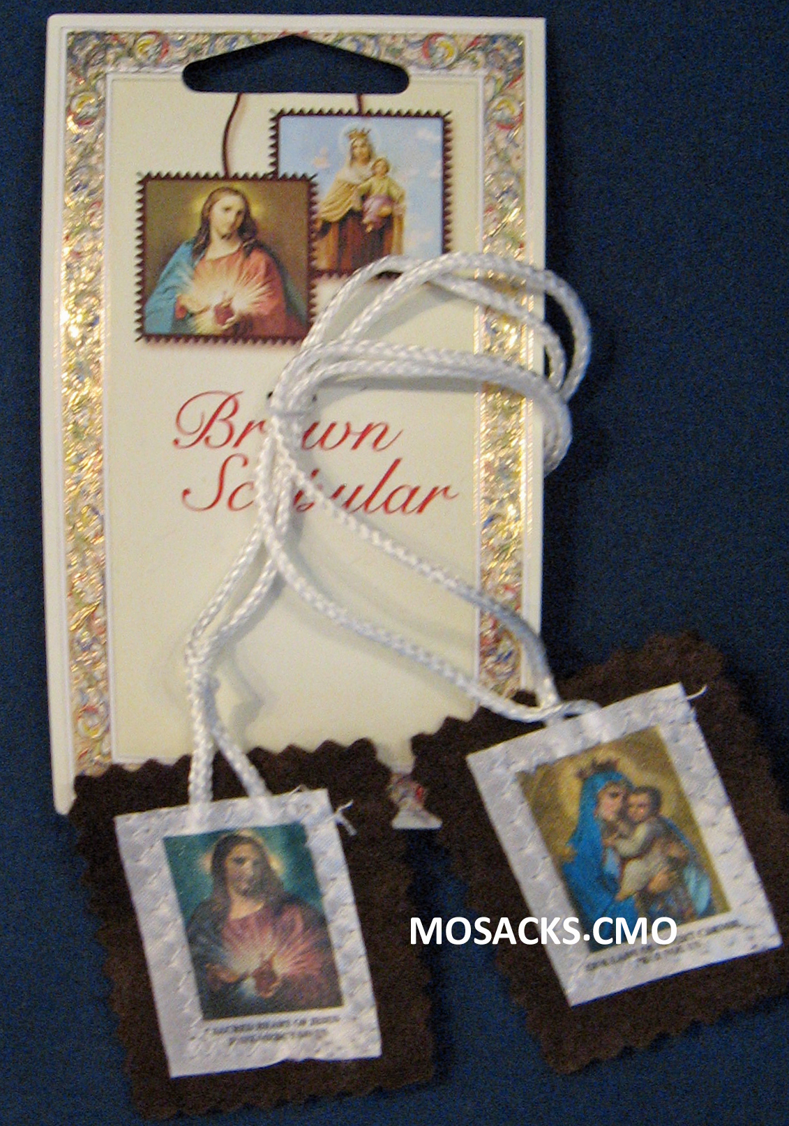 Brown Wool Scapular With Cloth Image white cord 12-1515-309