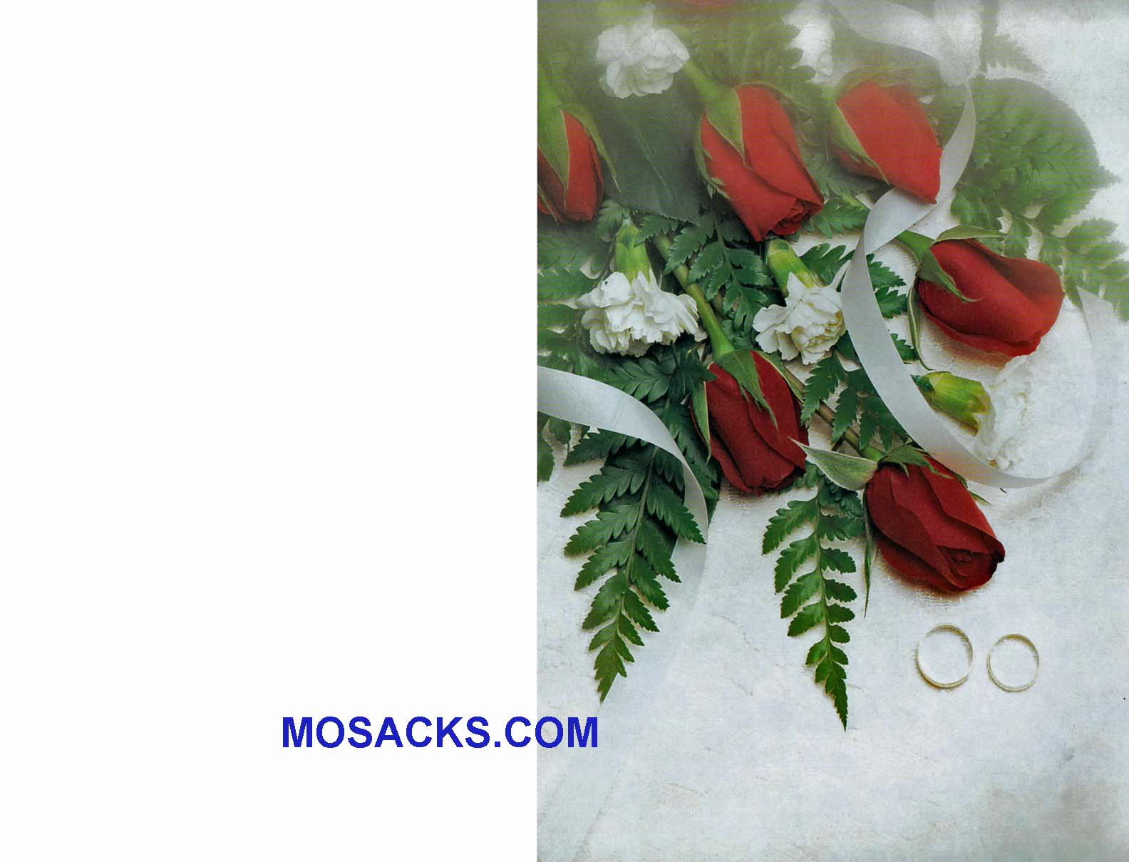 Wedding Bulletin Covers with Red Roses and Wedding Rings 100 Pack-84-9946, 8.5x11""