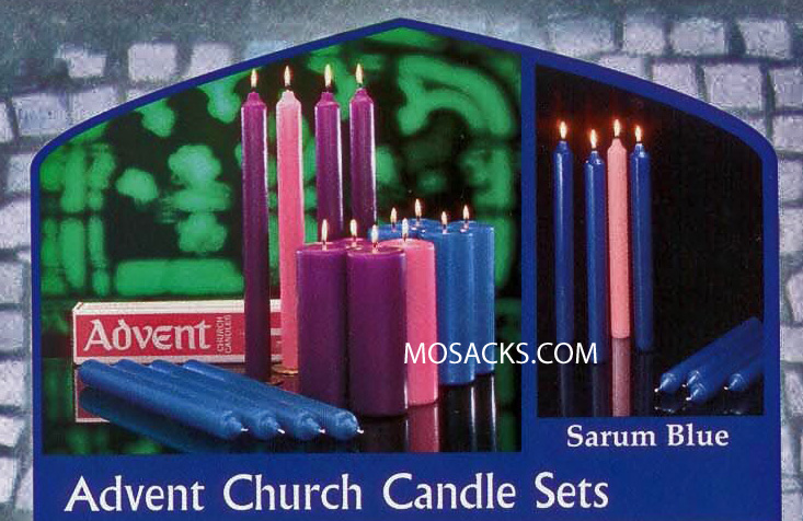 Advent Church Candle Set, Stearine, 1-1/2 x 12 Inch, Cathedral