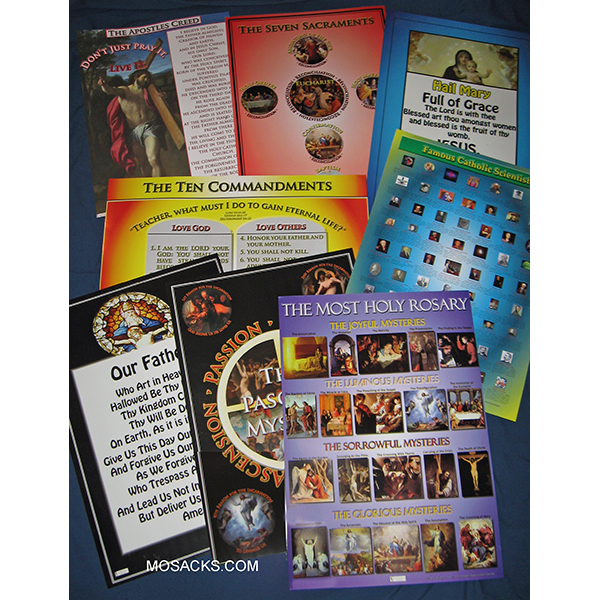 "Complete Set of 19"" x 27"" Laminated Catholic Posters"