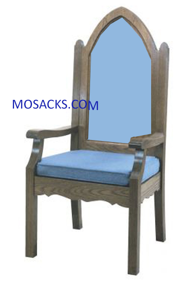 "Celebrant Chair with Reversible Cushion and Padded Back 27"" w x 23"" d x 52"" h 40-972AP Celebrant Chair #972AP and matching Side Chair #972SP have Padded Wood Back with Gothic Arch, various wood finishes and fabric colors are available 40-972AP"