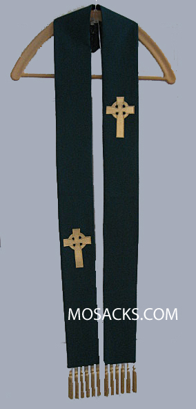 Celtic Overlay Stole in Hunter Green, Theological Threads  #06859HA