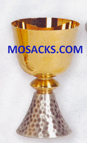"Chalice - Gold Plated and Silver Plated Chalice Hammered Finish is 5-3/4"" High and 3-1/2"" dia. Cup with 10 oz. cap. 14-K356 ?FREE SHIPPING"