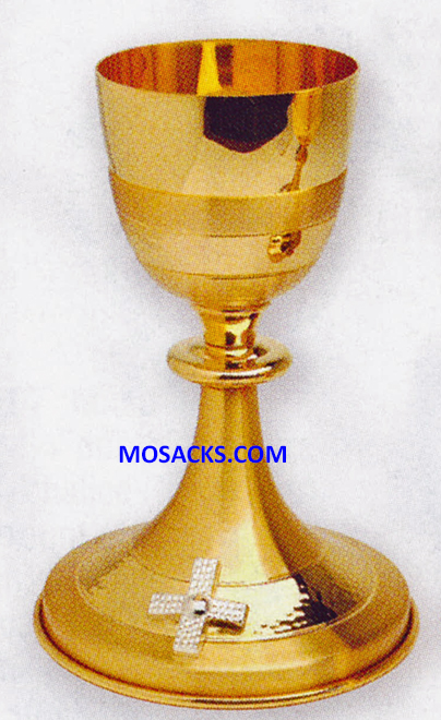 "Chalice - Gold Plated Chalice with Silver Plated Cross measures 8"" high with 3-1/2"" diameter cup and has 8 ounce capacity.  Base is 5-1/2"""