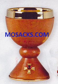 "Chalice Gold and Wood Chalice 6 3/8""H., 4""dia. Cup, 6 oz. cap. 14-K812  Free Shipping"