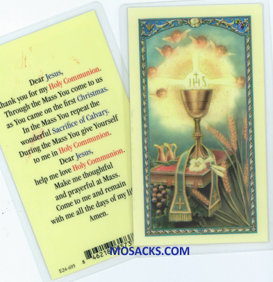 Chalice And Host Laminated Communion Holy Card 12E24-695