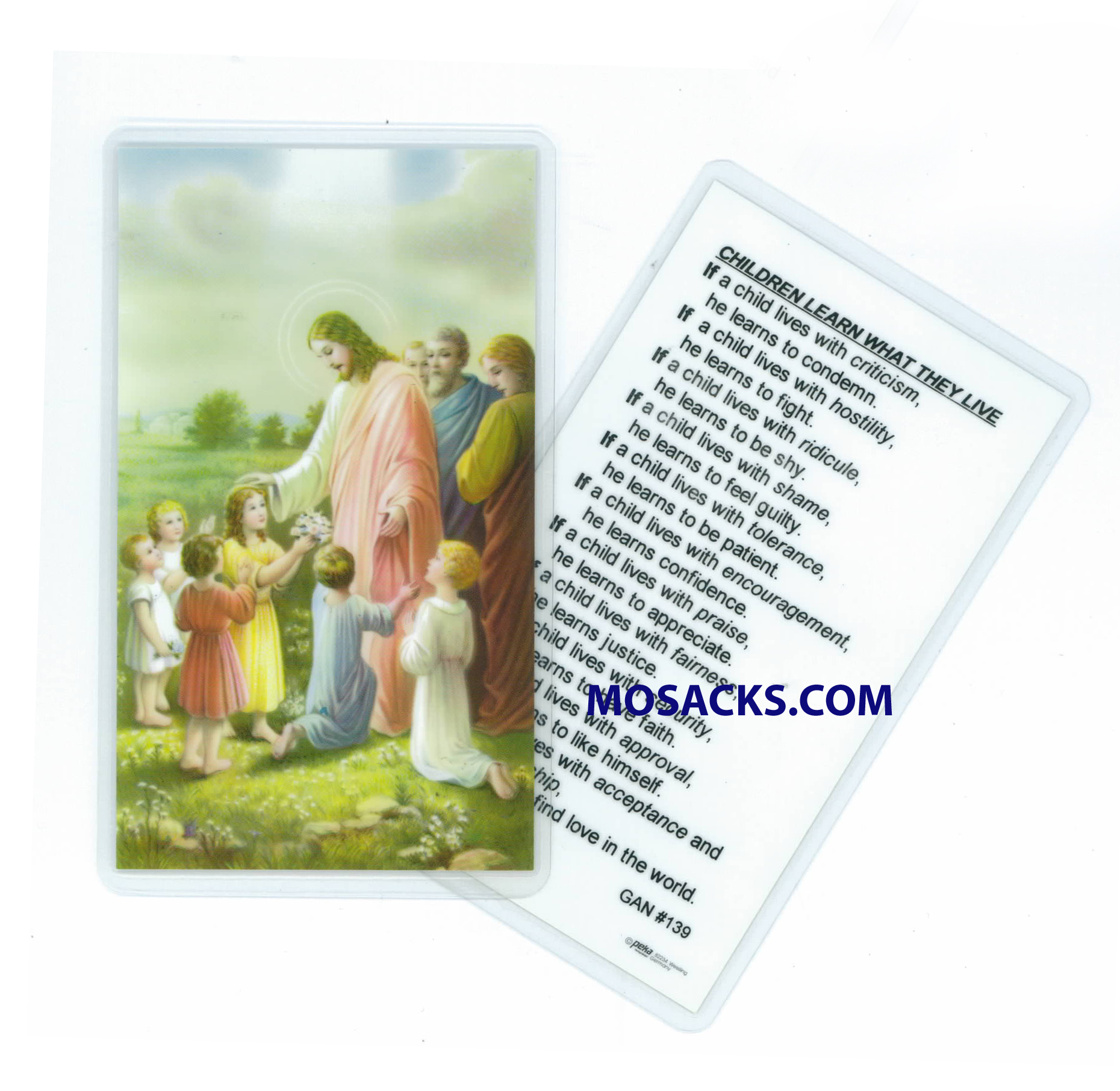 Children Learn What They Live Laminated Holy Card 292-PV139