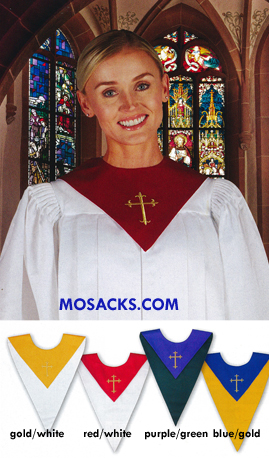 Reversible Choir Stole with Embroidered Gold Cross Choir Robe Reversible Stole 478-KD195
