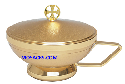 "Ciborium Gold Plated Ciborium w/handle 5.5"" Cup 5"" H 250 Host Cap. K374"