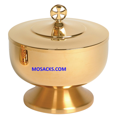 "Ciborium Bowl Gold Plated 6"" dia 6.25"" H 900 Host Cap K369 with Cover"