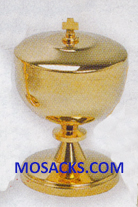 "Ciborium - Gold Plated Ciborium is 4-3/4"" High and 3"" diameter Cup with 100 host capacity 14-K234 FREE SHIPPING"