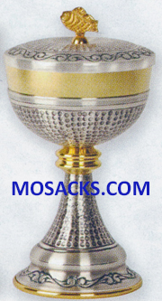 "Ciborium - Gold Plated & Oxidized Silver Ciborium is 8-1/2"" High and 4-5/8"" diameter Cup with 250 host capacity 14-K914  FREE SHIPPING"
