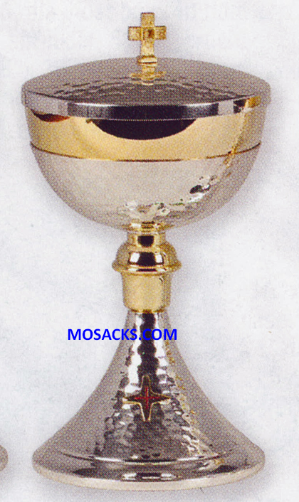 "Ciborium - Gold and Silver Plated Ciborium measures 9"" High with 4-5/8"" diameter Cup and 300 host capacity 14-K461"