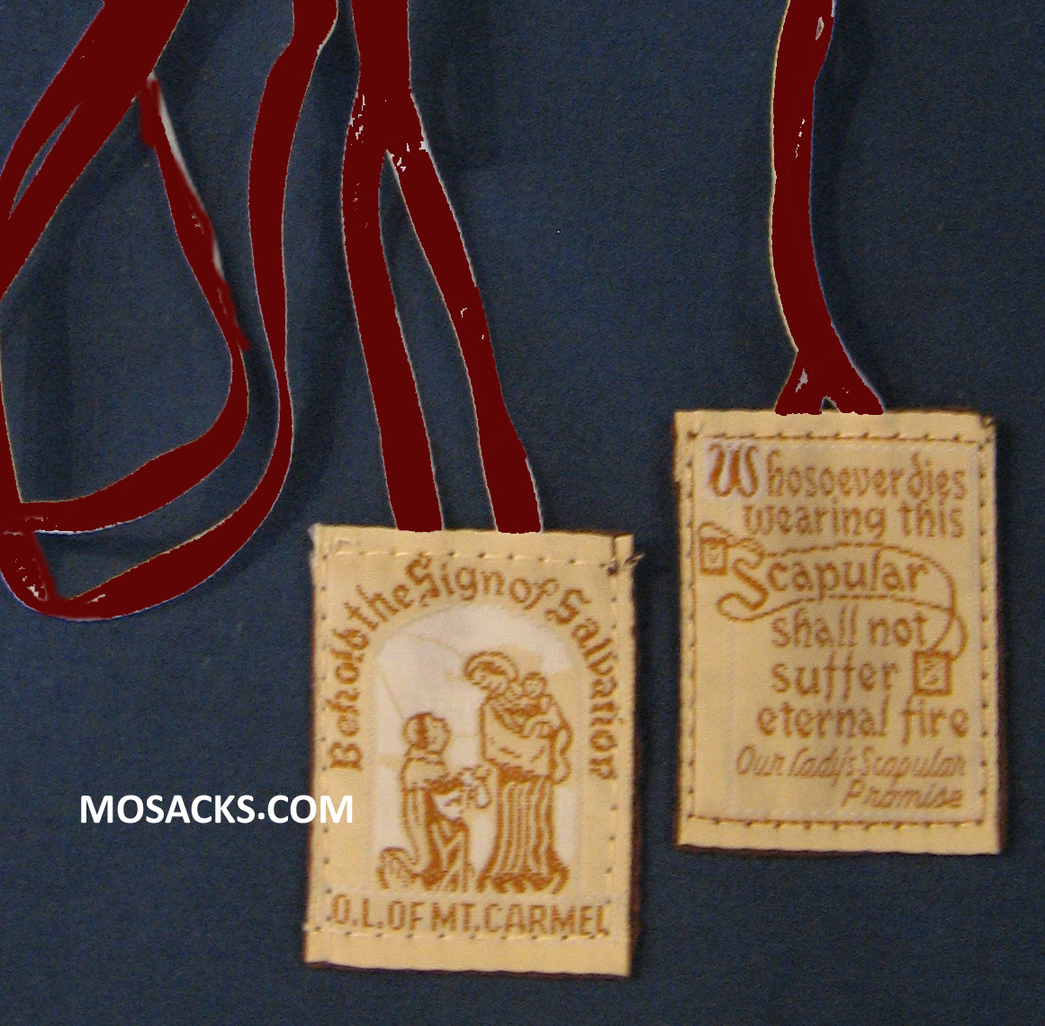 Cloth Embroidered Scapular on Brown Cotton Cord 64-SC/CL/BN