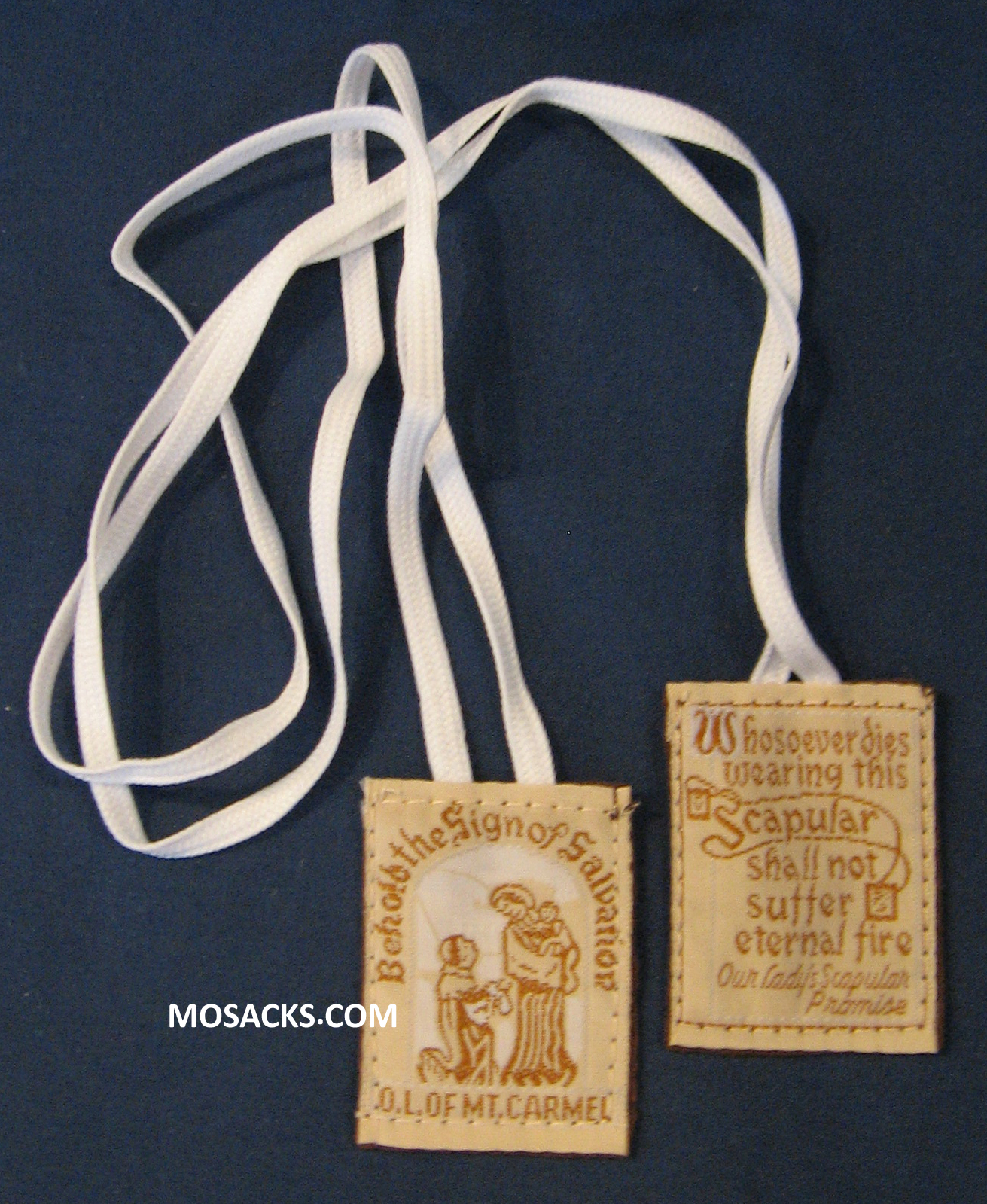 Cloth Embroidered Scapular White Cotton Cord 64-SCCLWH
