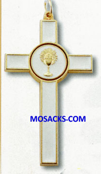 Communion 3 Inch White Enameled Gold Cross 12-2080