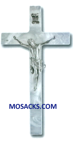 7 Inch White Pearlized Crucifix 12-50P-7WP
