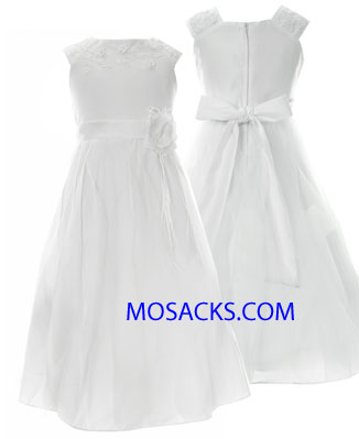 Communion Dress Beaded Flowers & Embroidered Bodice Sizes 7-12-204-66251