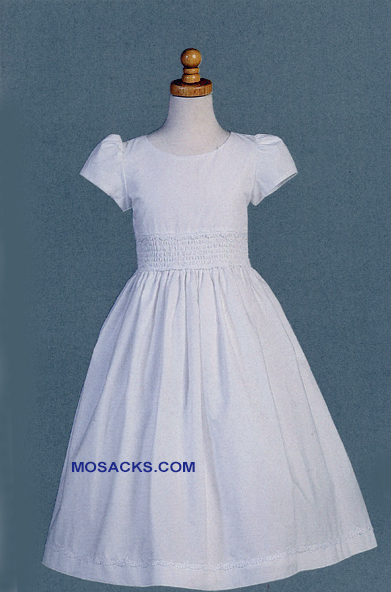 Communion Dress Cotton With Smocked Waistband Tea Length-SP108