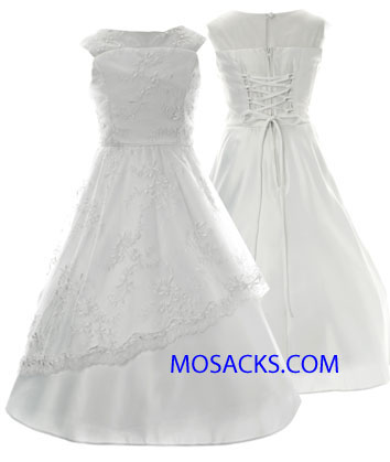 Communion Dress Embroidered Netting Over Satin Sizes 7-12-204-66254
