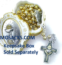 Communion Gold Silver Metal Rosary 12-269B